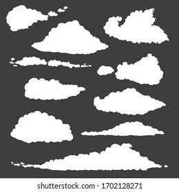 Vector Set of White Cloud Silhouettes on Black Background