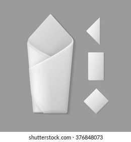 Vector Set of White Folded Envelope Square Rectangular Triangular Napkins Top View Isolated on Background. Table Setting