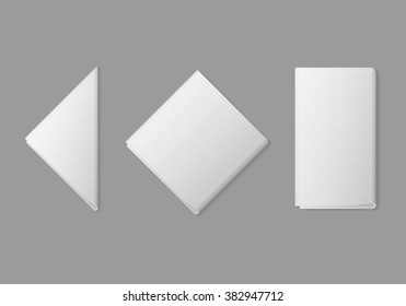 Vector Set of White Folded Square Rectangular Triangular Napkins Top View Isolated on Background. Table Setting