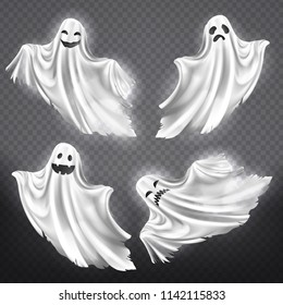 Vector set of white ghosts with various facial expressions, phantom silhouettes isolated on transparent background. Halloween clipart with spooky and funny poltergeists, scary spirits flying in night