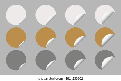 Vector Set of White, Gold and Silver Round Banner or Label with Copy Space for Add Content and Text.