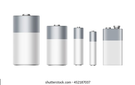Vector Set of White Gray Glossy Alkaline Batteries Of Diffrent size AAA, AA, C, D, PP3 and 9 Volt Battery for branding Close up Isolated on White background