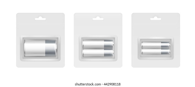 Vector Set of White Gray Silver Glossy Alkaline AA, AAA, C Batteries in Transparent Gray Blister Packed for branding Close up Isolated on White Background
