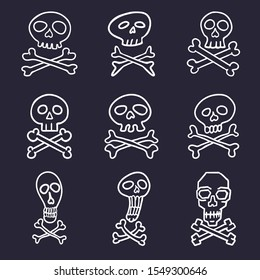 Vector Set of White Hand Drawn Doodle Skulls and Crossbones Signs on Dark Background