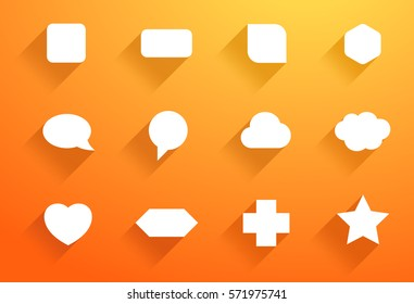 Vector Set of White Icon Shapes With Flat Shadows B