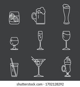Vector Set of White Outline Alcohol Icons on Dark Background