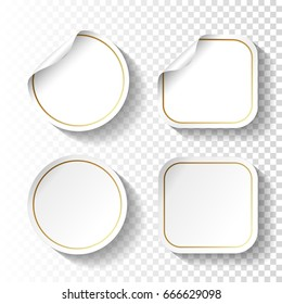 Vector set of white paper stickers on transparent background. Circle and square labels, buttons.