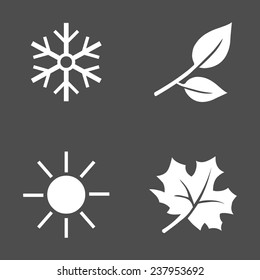 Vector Set of White Seasons Icons. Winter, Spring, Summer, Autumn.