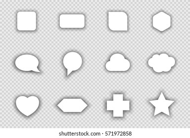 Vector Set of White Shapes With Transparent Shadows B