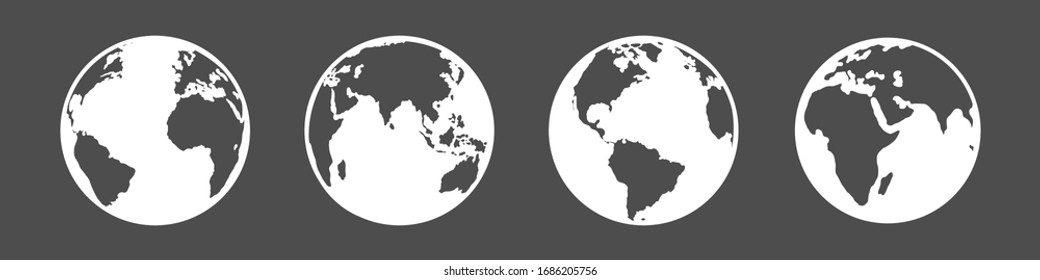 Vector Set of White Silhouette Globe Icons. 4 different Foreshortening of Earth Planet.