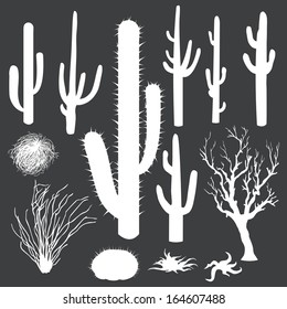 vector set of white silhouettes of cacti and other desert plants