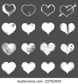 Vector Set of White Sketch Hearts