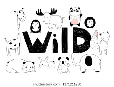 Vector set of wild animals. Drawings by hand. Cartoon zoo.