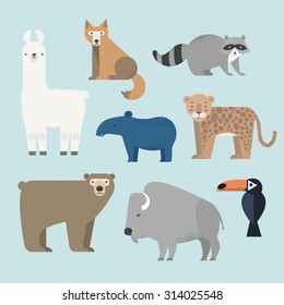 Vector set Wild animals icons. Lama, raccoon, tapir, grizzly bear, coyote, buffalo, cockatoos and jaguar. North and South America. Flat style character.