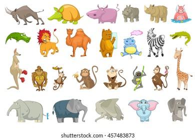 Vector set of wild animals illustrations. Collection of african animals. Set of mountain goat, hippopotamus, lion, camel, kangaroo, mammoth, lemur. Vector illustration isolated on white background.