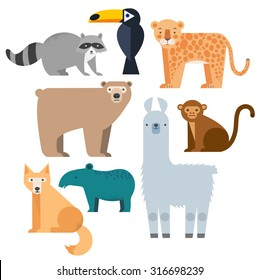 Vector set Wild animals. Lama, raccoon, tapir, grizzly bear, coyote, cockatoos and jaguar. North and South America. Flat style character.