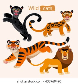 Vector set of wild cats. cartoon animals on a white background. Childish illustration of lion, tiger, panther and jaguar.