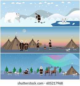 Vector set of wild north arctic banners, posters in flat style. Arctic animals and eskimo characters in traditional clothing, their houses. People fishing, cooking, dancing around the fire.