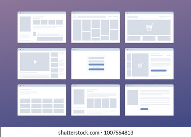 Vector set of windows with website page template. Concept of social media: online store, login, video hosting. Interface on laptop in browser.
