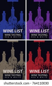Vector set of wine cards. Wine card for wine tasting with colored patterned bottles with corkscrews on a black background
