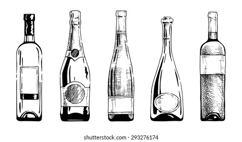 Vector Set Of Wine And Champagne Bottles In Ink Hand Drawn Style Isolated On White