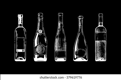 Vector set of wine and champagne bottles on black background.
