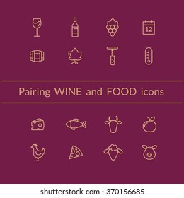 Vector set of wine and food pairing icons like fish, meat, fruits, bottle, glass, grapes. Line style icons.