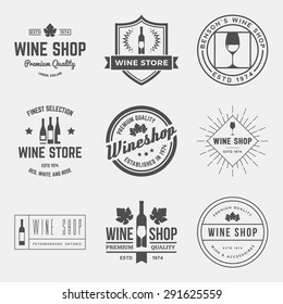 vector set of wine shop labels, badges and design elements