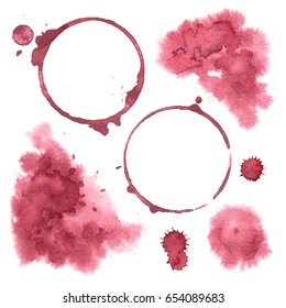 Vector set Wine spots, drops and stains