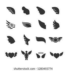 Vector set of wings icons.