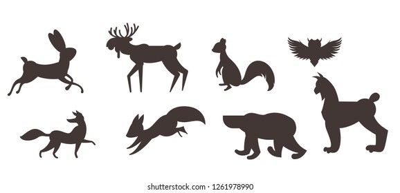 Vector set of winter animals on white background drawn in flat style