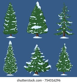 Vector Set of Winter Cartoon Pine Trees with Snow on Branches