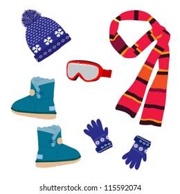 Vector set winter clothing