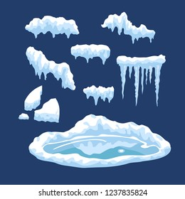 Vector set of winter elements, snowcaps, snowdrift and ice isolated on blue background