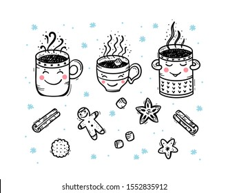 Vector Set of Winter Hot Drinks and Sweets. Cozy Cute Mugs with Beverages Mulled Wine, Coffee or Tea, Cocoa and Gingerbread Cookies, Marshmallow. Winter Holidays, Christmas and New Year Design