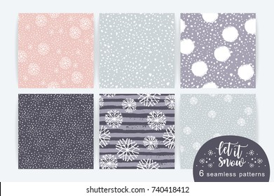 Vector set of winter seamless pattern with snow and snowflakes. Trendy hand drawn texture. Design for textile, wall art, wrapping paper, wallpaper and other uses.