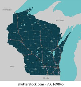 Vector set of Wisconsin state with roads map, cities and neighboring states