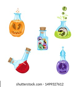 Vector set of witchcraft potions for Halloween. Transparent background