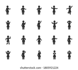 Vector set of woman different gestures flat icons.