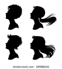 Vector set of woman faces in profile