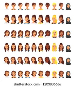 Vector set of woman multicultural avatar with different emotions. Female portrait.