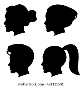 Vector set of woman silhouette with different hair styles.