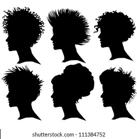 vector set of woman silhouette with extreme hair styling