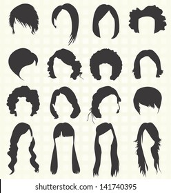Vector Set: Woman's Hair Styles Silhouettes