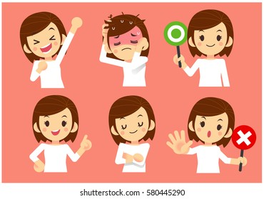 Vector Set of Women in Casual Cloth with Different Expression