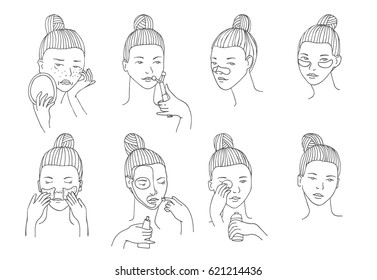 Vector set with women head in different conditions, mood and angle. Cosmetology procedures like treatment and facial masks for lips, eyes and skin. Girl takes care of her skin and face herself.