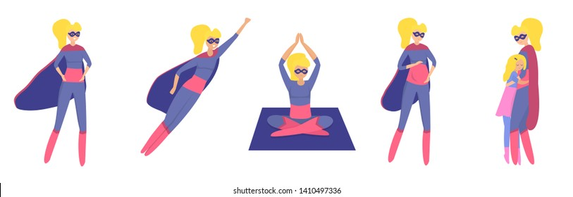 Vector set of Women Superheroes. Strong woman. Flying, pregnant, doing yoga, hugging her daughter. Girl power concept.