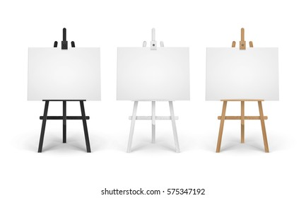 Vector Set of Wooden Brown Black White Sienna Easels with Mock Up Empty Blank Horizontal Canvases Isolated on Background