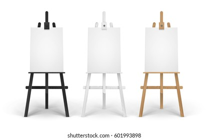 Vector Set of Wooden Brown Black White Sienna Easels with Mock Up Empty Blank Vertical Canvases Isolated on Background