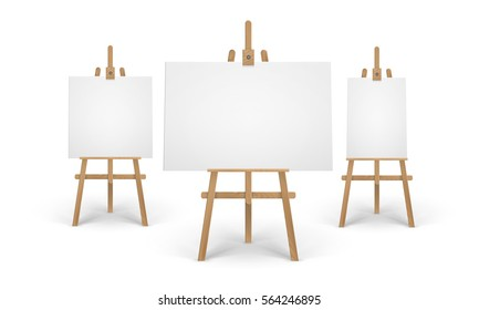 Vector Set of Wooden Brown Sienna Easels with Mock Up Empty Blank Horizontal Vertical Square Canvases Isolated on Background